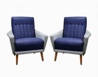 Pair of vintage club or lounge chairs made from skai 1960s - pairof vintage cocktail chairs - vintage two tone chairs - grey and blue chairs