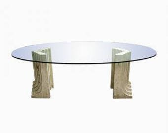 Vintage oval dining table by Carlo scarpa 1970s - travertine dining table - large dining table - glass dining table - italian design table