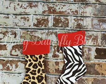 Leopard and Zebra Wooden Ornaments
