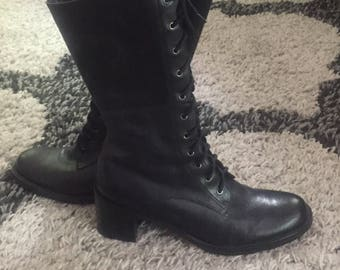 """Vintage 80s Pazzo Leather """"Fennel"""" Lace up Boots size 7"""