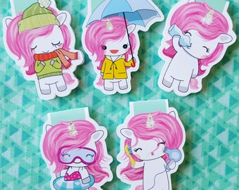Pink Unicorns Magnetic Bookmark Set