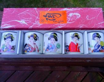 Vintage Set of 5 Asian/ Japanese Porcelain Geisha Girl Sake/Tea Cups in Box