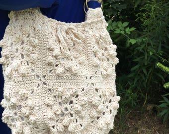 Off white Granny's  aquares shoulder messenger  hobo hand made bag