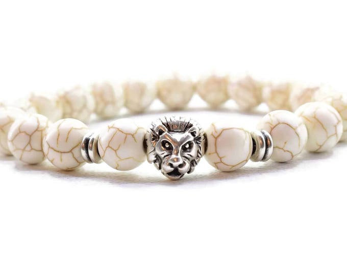 Men's Lion Head Bracelet, with Howlite stone beads.