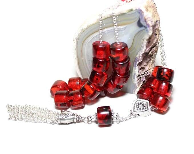 Worry Beads, Greek Komboloi, Dark Red Faturan color tube shape beads, Chain cord & Tassel, Relaxation, Meditation