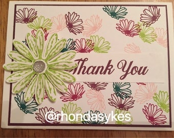 Handmade Stampin up Thank you daisy