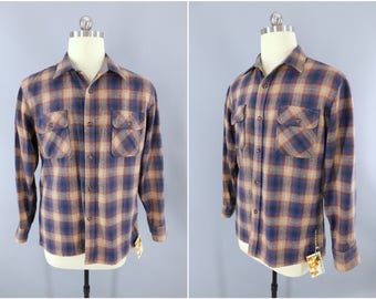 1970s Vintage Wool Shirt / 70s Plaid Shirt / Vintage Menswear / Casual Shirt / Blue & Brown Tartan Plaid