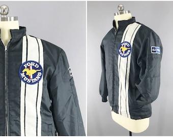 1970s Vintage / Ford Mustang / Racing Stripe Jacket / FOMOCO Racing / Dark Blue Nylon Windbreaker / Sherpa Lined / Size M / 38 - 40