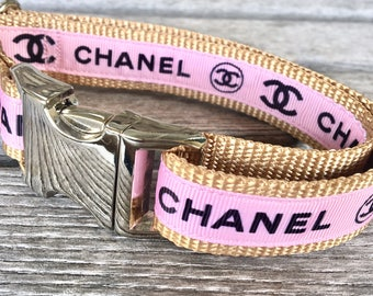 "Coco Chanel Inspired 1"" Wide Dog Collar, Logo Dog Collar, Designer Dog Collar, Blush Pink Dog Collar, Silver Hardware Collar"