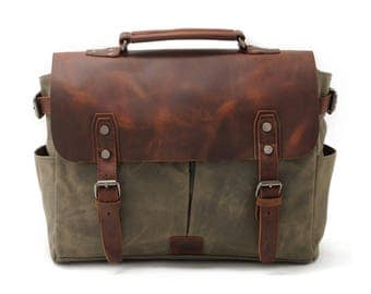 Waxed Canvas Messenger Bag, Leather Messenger Bag, Laptop Messenger Bag, Men Messenger Bag, Satchel, Briefcase, Father's Day Gifts