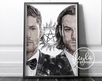 Supernatural Print - Sam & Dean Winchester | A6/A5/A4/A3 Illustration Print | Supernatural Poster | For Him, For Her