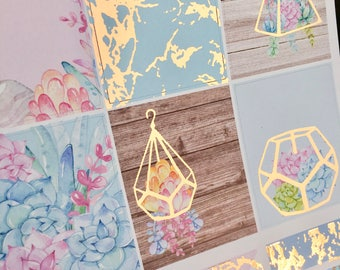 Succulents Rose Gold Foiled Erin Condren VERTICAL Weekly Decorative Sticker Set