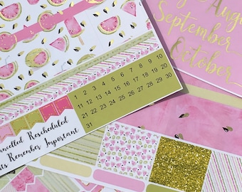 Gold Foiled Watermelon July to October ERIN CONDREN MONTHLY Spread Decorative Sticker Set