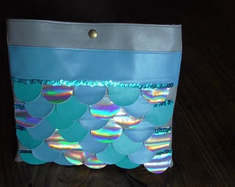 """Great Kit """"fish scales"""" faux leather and fabric"""