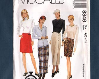 McCall's 8346 Misses Straight Front Wrap Skirts in Two Lengths Vintage 90's Sewing Pattern, Sizes 4, 6, 8, Uncut