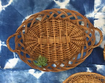 Wicker Basket For Wall Art Collection - Vintage Rattan Boho Jungalow Home Decor Wall Hanging