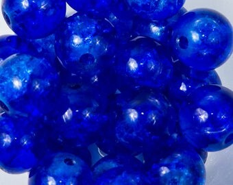 50 8mm dark blue Crackle glass beads