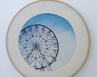Embroidered Ferris wheel watercolor background