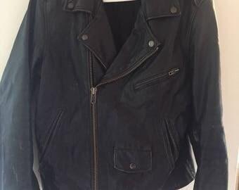 Vintage distressed leather biker jacket