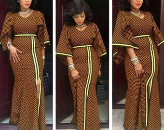African wear. Bell Hand Slitted Long Gown