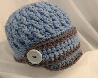 Crochet newsboy hat. Adorable in any color. Newsboy hat. Great for summer or winter. Visor beanie. Visor newsboy beanie. Visor hat.