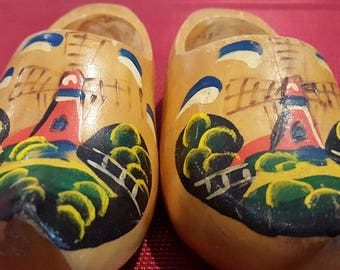 Vintage wooden children's shoes from Holland Hand Painted