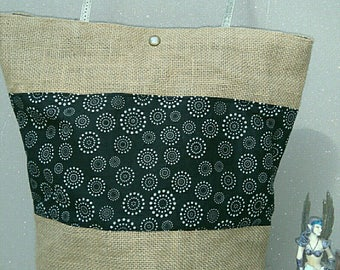 Burlap and black and white printed cotton tote bag
