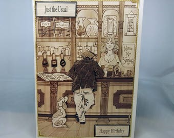 Male Birthday Card - Retro Pub/Alcohol - Remember When - luxury personalised unique special bespoke UK - Dad/Son/Uncle/Brother/Nephew