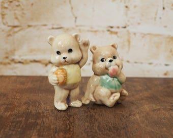 Pair of 1980's Ceramic Bear Ornaments