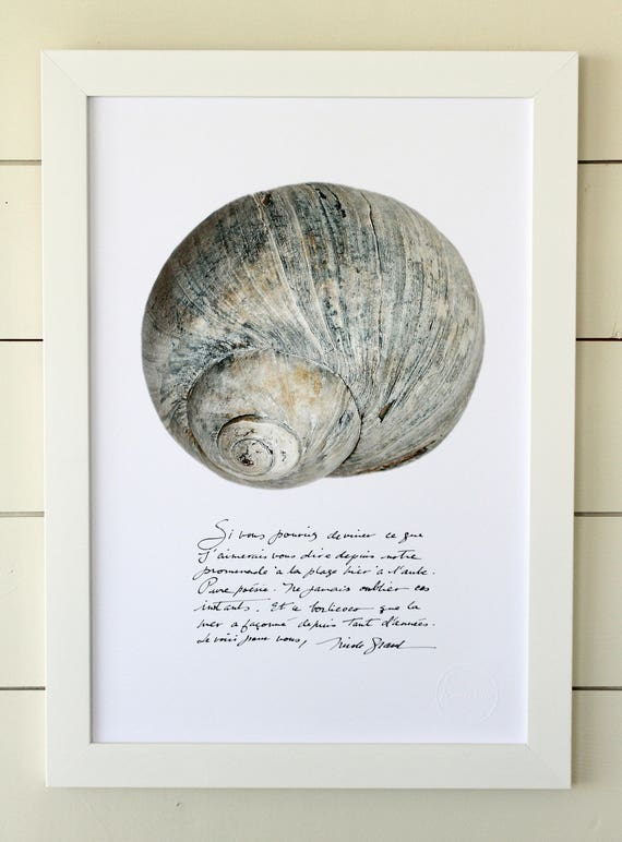 Moon shell poster with calligraphied poetry