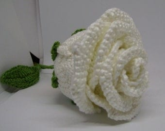 White crocheted roses with stalk