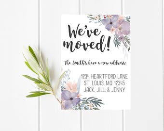Floral We've Moved Announcement card, we've moved 5x7 card, Customized Floral We've Moved Card