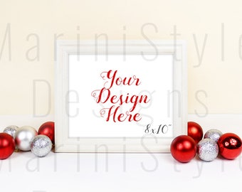 White Frame Mockup, Horizontal, Christmas Empty Frame, 8x10, Holiday Styled Stock Photography, Winter Stock Photo, Christmas Stock image 696