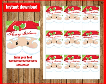 Santa Claus Gift Tags - Christmas Favor Tags - Christmas present tags - Santa tags - TYPE Your Own Text - Editable