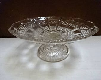 Pressed/Moulded Glass Cake Stand/Muffins/Sweets/Fruits/Vintage