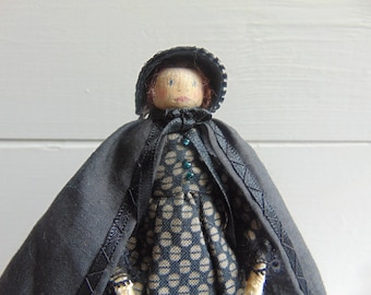 Jane Eyre, Limited Edition Doll, Wooden Dolls, Peg Dolls, Unique Handmade Doll, Collectible Doll, Heirloom Dolls by Litpegs