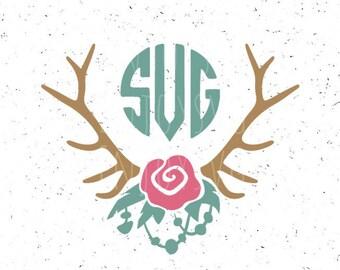 Floral Antlers Svg, Boho Monogram Frames svg, Antlers svg, Boho svg Boho Antlers svg Flowers svg, Boho Necklaces svg Deer Horn SVG Rose Svg