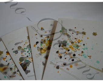 Abstract Flowers / Watercolor Greeting card  Set of 4 - Green, black, gold, yellow, brown, nature