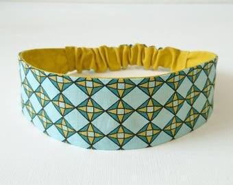 Headband, headband, headband elastic women's graphic print mustard yellow and blue
