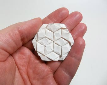 Hexagon for Tessellations, white, pure white, elephant hide, origami, paper