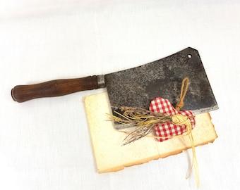LARGE Heavy Cleaver, REVOLLIER Veritable, Antique Butcher knife, French antique, Vintage chopper, metal axe, herb cleaver, kitchen utensils
