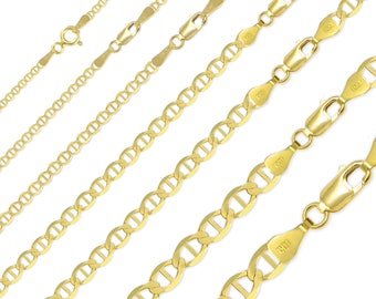 "14K Solid Yellow Gold Mariner Necklace Chain 1.5-7.7mm 16-26"" - Anchor Link"