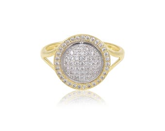 14K Solid Yellow Gold Cubic Zirconia Round Ring - Cluster Circle Polished Finger Band