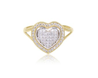 10K Solid Yellow Gold Cubic Zirconia Heart Ring - Cluster Love Polished Finger Band