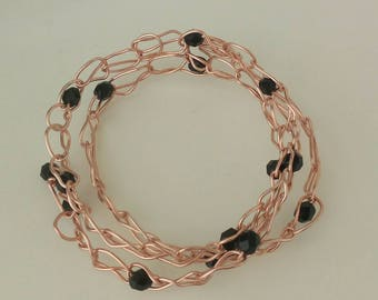 3 Strand copper soft bracelet with colored crystals