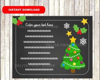 Christmas Tree Thank You Notes Kids - Gifts - childrens - notecards - Thank You Cards - TYPE Your Own Text - Editable