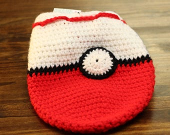 Crocheted PokeBall drawsting bag