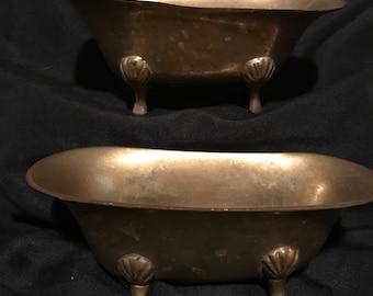 Miniature Brass Bathtub/Vintage Brass Tub/Miniature Clawfoot Brass Tub/Vintage Brass Tub/Brass Soapdish/Brass Bathtub/Vintage Clawfoot Tub