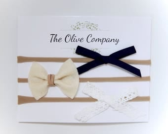 The Caroline - A collection of three handmade bows on nylon headbands or metal clips