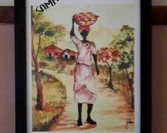 Framed A3 Caribbean Watercolour Print Woman with a Basket  Wall Art Decor Limited Edition